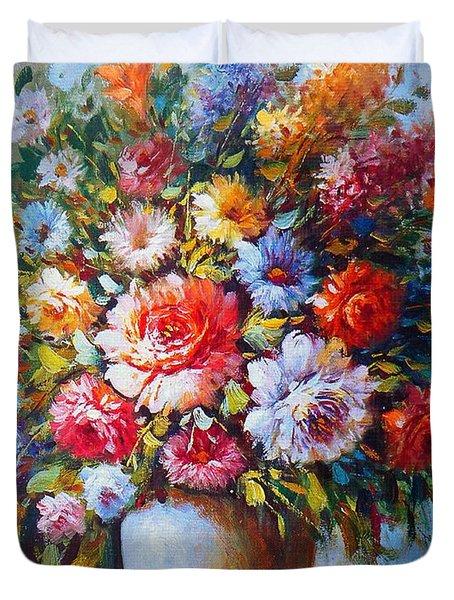 Still Life Colourful Flowers In Bloom Duvet Cover