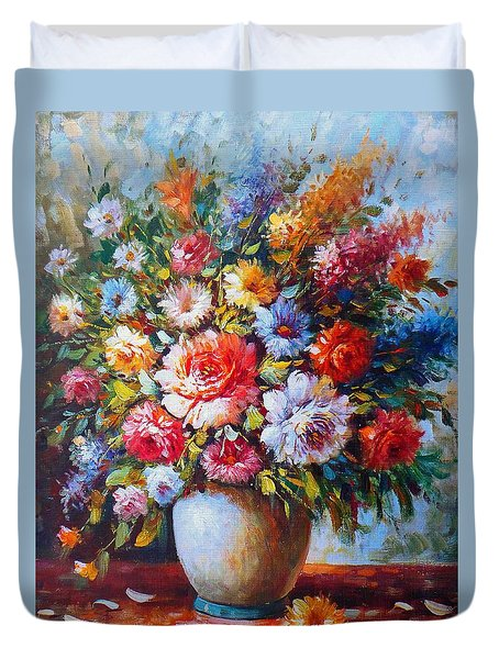 Still Life Colourful Flowers In Bloom Duvet Cover