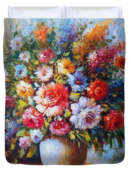 Still Life Flowers Duvet Cover