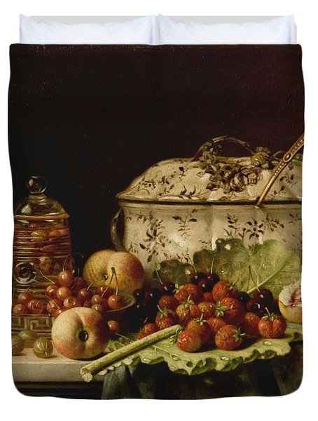 Still Life  Fruit And Dishes  Late 19th Century Oil On Panel Gottfried Schultz  German  1842  1919 Duvet Cover