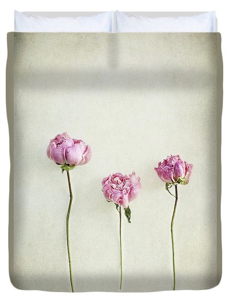 Still Life Of Dried Peonies With Texture Overlay Duvet Cover
