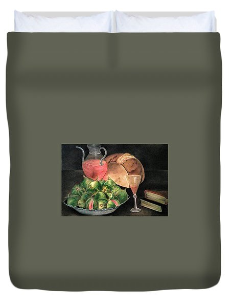 Still Life Of Figs, Wine, Bread And Books Duvet Cover