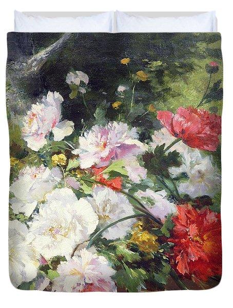 Still Life Of Flowers Duvet Cover by Eugene Henri Cauchois