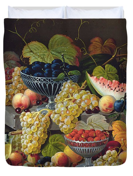 Still Life Of Melon Plums Grapes Cherries Strawberries On Stone Ledge Duvet Cover
