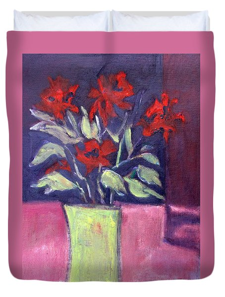 Duvet Cover featuring the painting Still Life Of Red Flowers In Yellow Jug by Betty Pieper