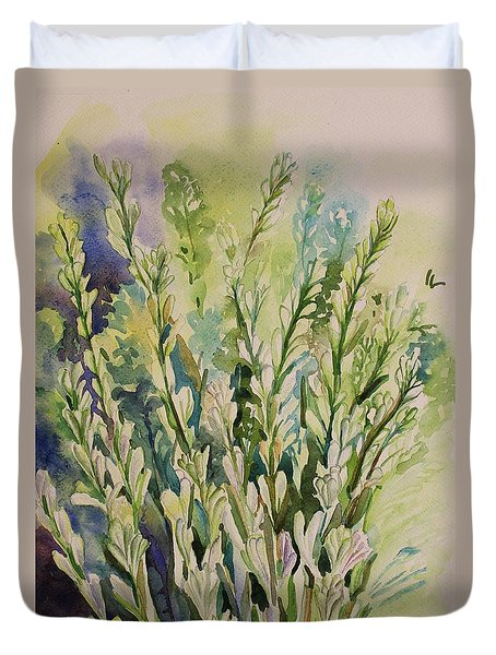 Duvet Cover featuring the painting Still Life Of Tuberose Flowers by Geeta Biswas