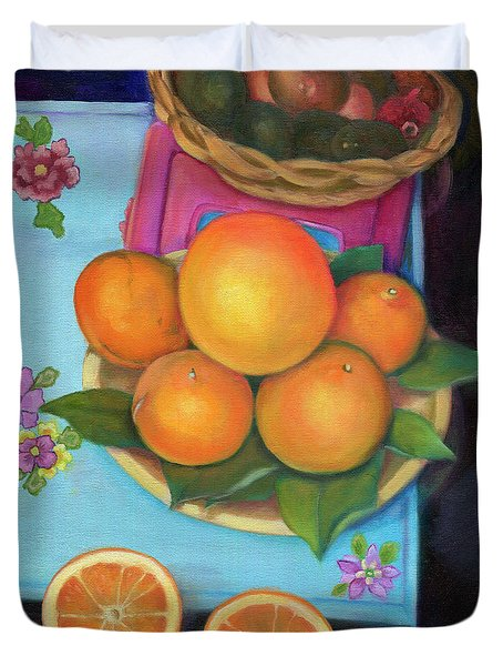 Still Life Oranges And Grapefruit Duvet Cover