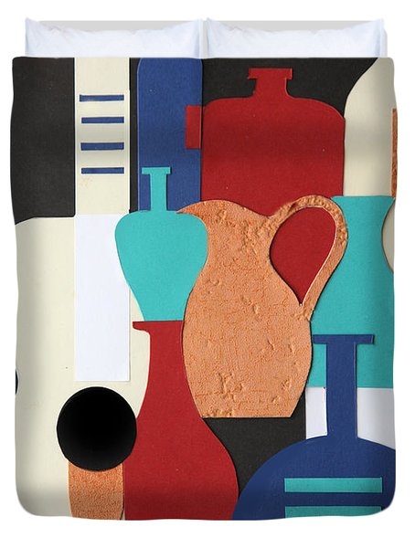Still Life Paper Collage Of Wine Glasses Bottles And Musical Instruments Duvet Cover by Mal Bray