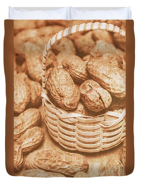 Still Life Peanuts In Small Wicker Basket On Table Duvet Cover