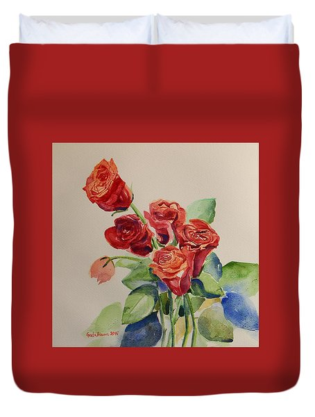 Duvet Cover featuring the painting Still Life Red Roses by Geeta Biswas