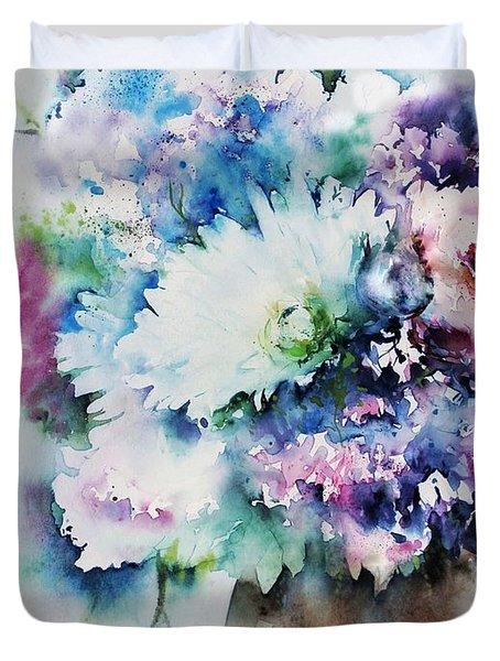Still Life Rose Bouquet Watercolour Duvet Cover