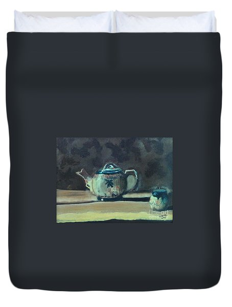 Still Life Teapot And Sugar Bowl Duvet Cover
