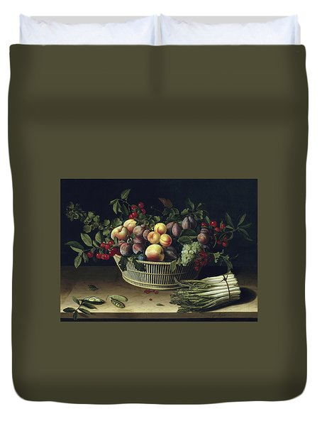 Still Life With A Basket Of Fruit And A Bunch Of Asparagus Duvet Cover by Louise Moillon