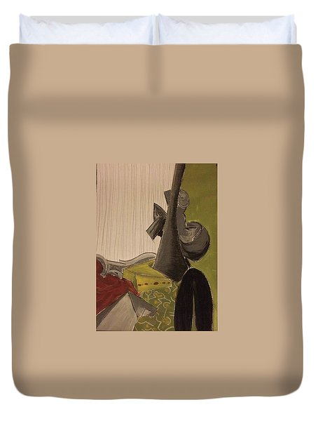 Still Life With A Black Horse- Cubism Duvet Cover by Manuela Constantin
