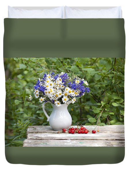 Still-life With A Bouquet Of Wildflowers Duvet Cover