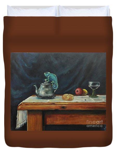 Still Life With A Chameleon Duvet Cover by Maja Sokolowska