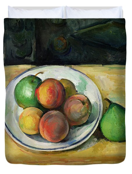 Still Life With A Peach And Two Green Pears Duvet Cover by Paul Cezanne