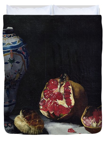 Still Life With A Pomegranate Duvet Cover by Auguste Theodule Ribot