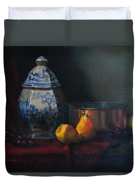 Still Life With Antique Dutch Vase Duvet Cover