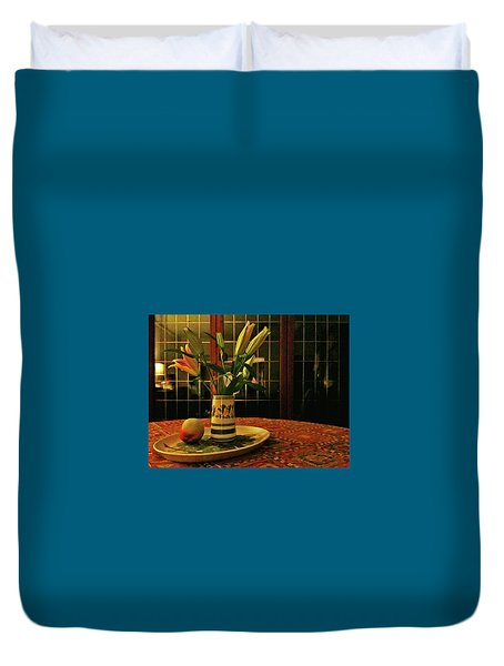 Duvet Cover featuring the photograph Still Life With Apple by Anne Kotan
