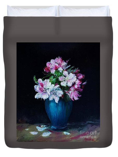 Still Life With Apple Tree Flowers In A Blue Vase Duvet Cover
