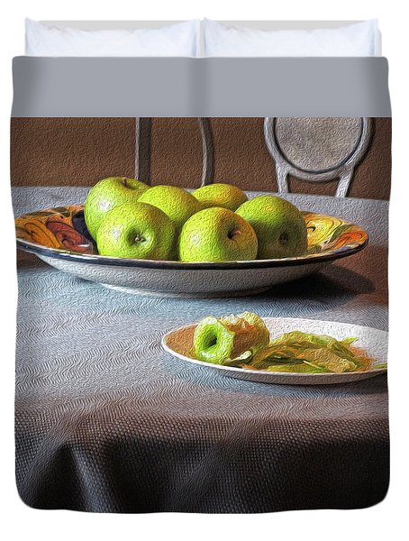Still Life With Apples And Chair Duvet Cover by Lynda Lehmann