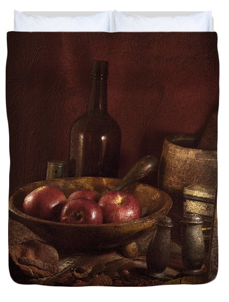 Still Life With Apples, Bottles, Baskets And Shakers. Duvet Cover