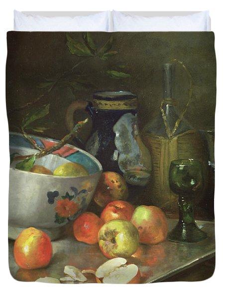Still Life With Apples Duvet Cover by Eugene Henri Cauchois