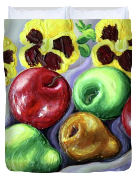 Duvet Cover featuring the painting Still Life With Apples by Inese Poga