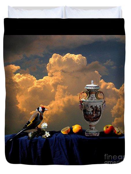 Duvet Cover featuring the digital art Still Life With Bird by Alexa Szlavics