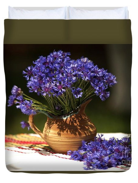 Still Life With Blue Flowers Duvet Cover