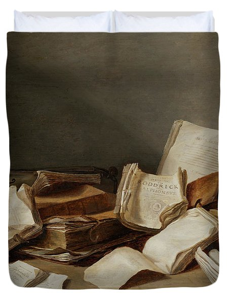 Still A Life With Books And Violin Duvet Cover