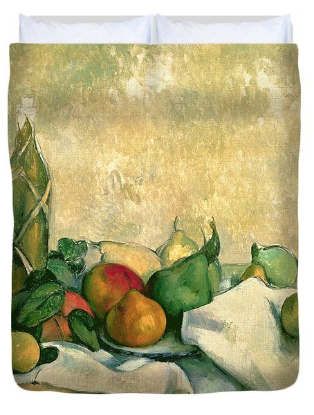 Still Life With Bottle Of Liqueur Duvet Cover by Paul Cezanne