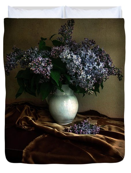 Duvet Cover featuring the photograph Still Life With Bouqet Of Fresh Lilac by Jaroslaw Blaminsky