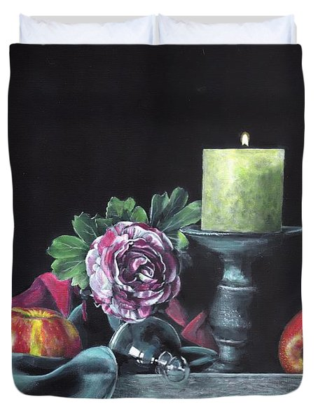 Still Life With Candle Duvet Cover