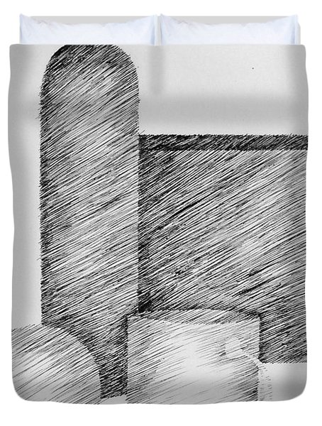 Still Life With Cup Bottle And Shapes Duvet Cover by Michelle Calkins