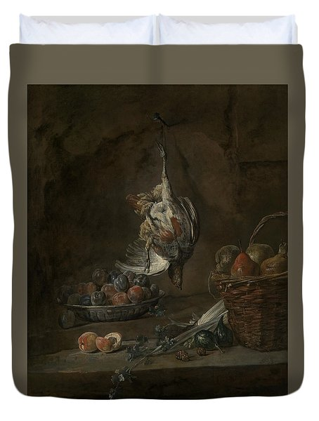 Still Life With Dead Pheasant Duvet Cover by Jean-Baptiste-Simeon Chardin