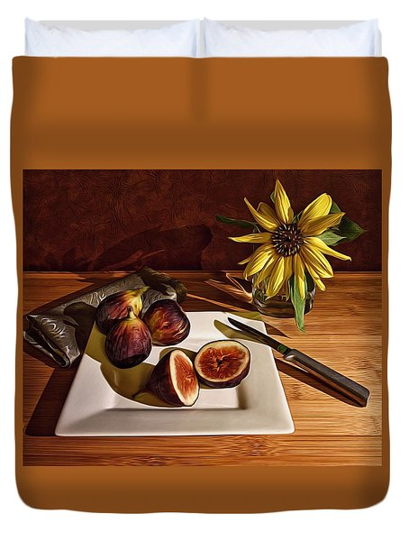 Still Life With Flower And Figs Duvet Cover