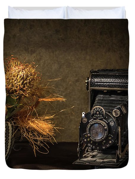 Still Life With Flowers And Camera Duvet Cover