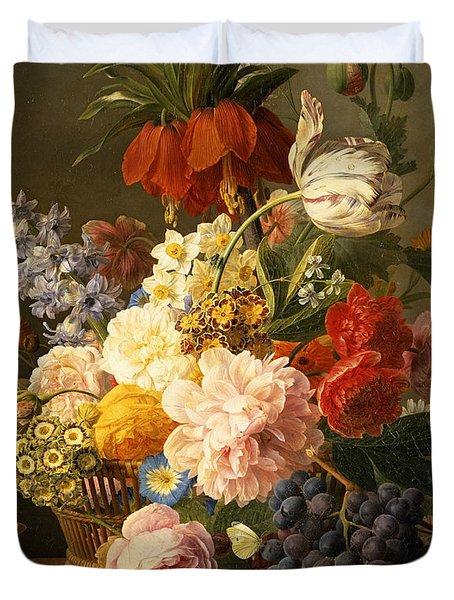 Still Life With Flowers And Fruit Duvet Cover