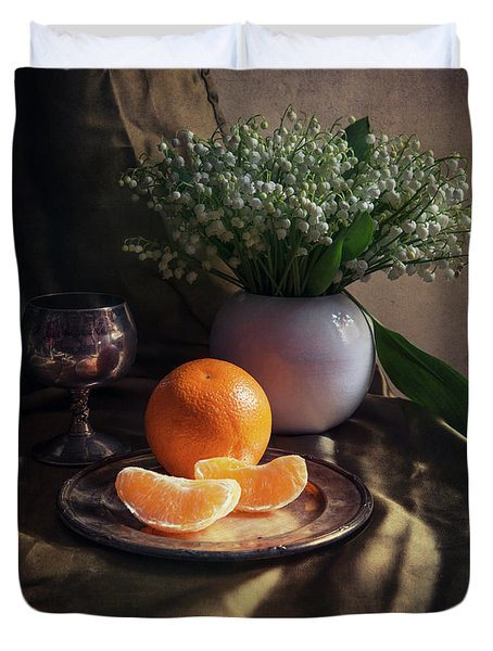 Still Life With Fresh Flowers And Tangerines Duvet Cover by Jaroslaw Blaminsky