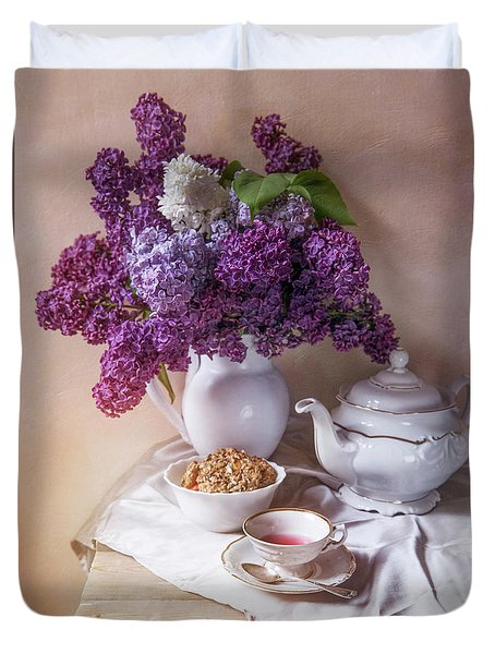 Duvet Cover featuring the photograph Still Life With Fresh Lilac And China Pots by Jaroslaw Blaminsky