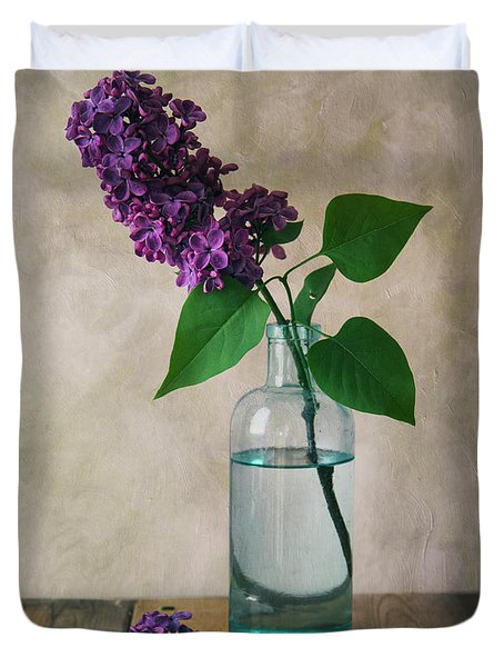 Duvet Cover featuring the photograph Still Life With Fresh Lilac by Jaroslaw Blaminsky