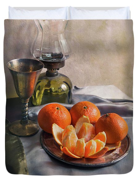 Still Life With Fresh Tangerines And Oil Lamp Duvet Cover by Jaroslaw Blaminsky