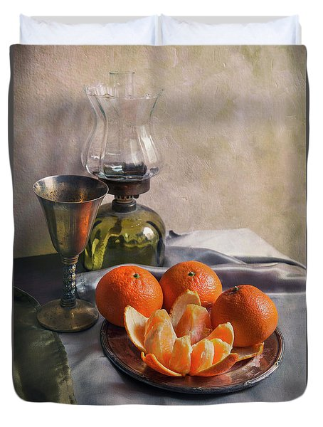 Still Life With Fresh Tangerines Duvet Cover