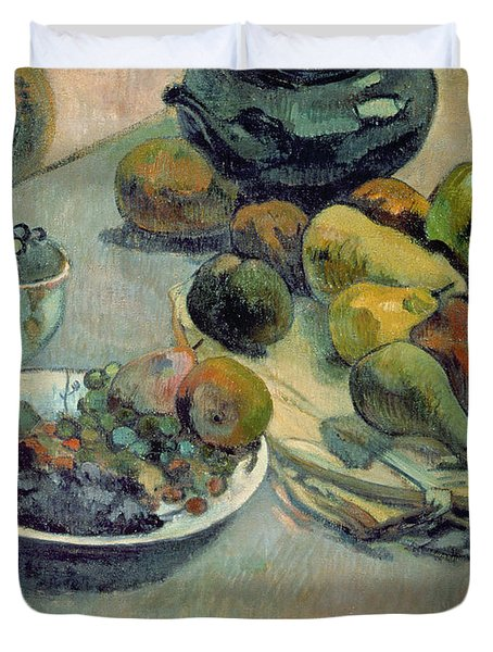 Still Life With Fruit Duvet Cover by Paul Gauguin