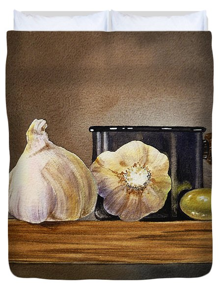 Still Life With Garlic And Olive Duvet Cover