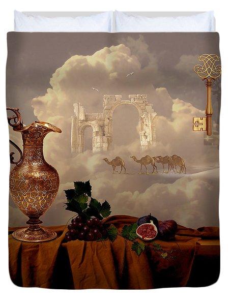 Duvet Cover featuring the digital art Still Life With Gold Key by Alexa Szlavics