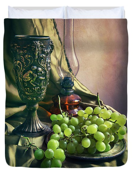 Duvet Cover featuring the photograph Still Life With Green Grapes by Jaroslaw Blaminsky
