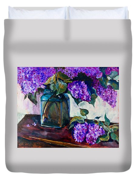 Still Life With Lilac 2 Duvet Cover by Maxim Komissarchik